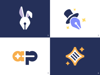 Proposals for Abrapalabra brand identity branding kreatank stars symbol creative wand magician wizard trick magic logo star file text writing pen bunny