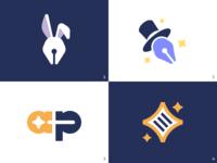 Proposals for Abrapalabra brand identity branding kreatank stars symbol creative wand magician wizard trick magic logo star file text writing pen bunny