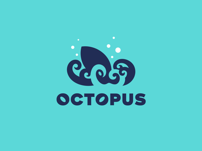 Octopus kreatank creative spirals blue illustration bubbles water sea ocean kraken octo negative space logo octopus