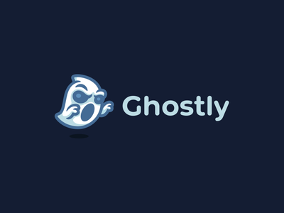 Ghostly kreatank haunted creative character mascot sweet simple playful cute logo ghost