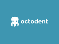 octodent mascot brand identity branding kreatank medical clever smart flat tooth kids children playful fun creative logo cute dentist dental dent octopus