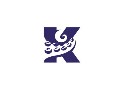 Unleash the Kraken! brand identity creative aggressive negative space monogram letter mark lettermark gym logo fitness crossfit kraken octopus tentacle