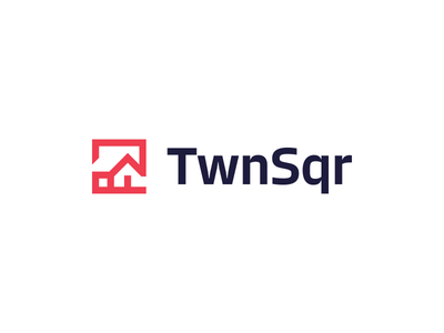 TwnSqr bold creative logo home house simple cube square negative space real estate realty city town square