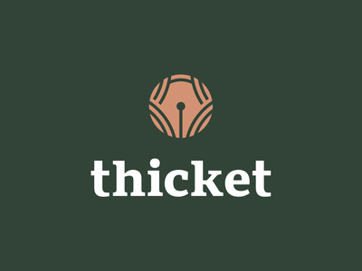 Thicket creative circle abstract brand identity branding design logo bush students university academics text writing fountain pen pen branches woods forest trees thicket