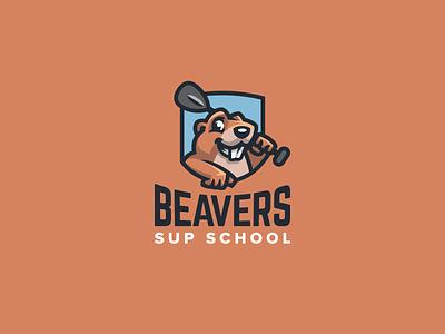 Beavers Sup School character mascot branding brand identity redesign sweet cute animal creative playful fun surf board sup logo badge emblem shield beavers beaver