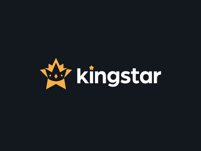 kingstar crown kreatank night symbol mark royal flat creative negative space stars star logo design logo queen regal king