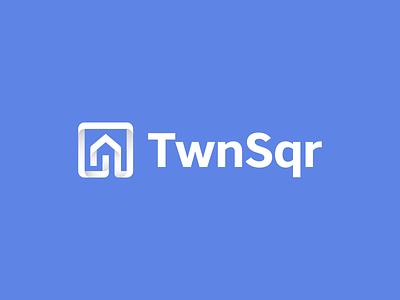TwnSqr logo blue kreatank website online bidding home creative abstract corporate gradient cube square brand identity branding logo design logo arrow house real estate realty