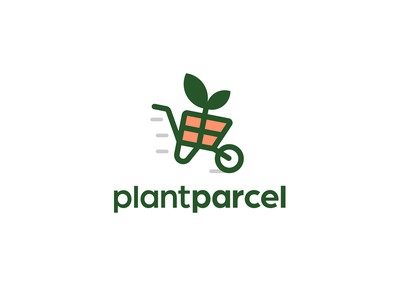 Plantparcel webstore present fun creative delivery shipping wheel barrel wheelbarrel ecomm ecommerce gift green leaf plant logo