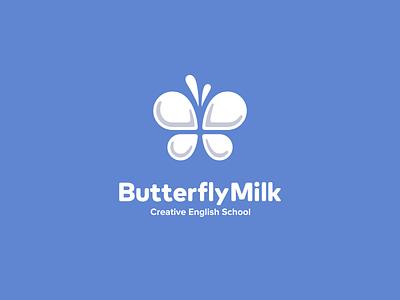 ButterflyMilk drops playful cute kreatank brand identity visual identity creative fun children writing reading language english classes teaching school milk butterfly logo