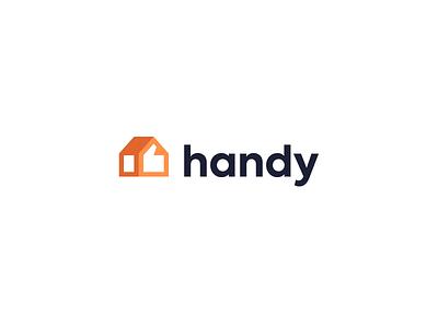 Handy service window roof kreatank minimal clever flat simple smart creative visual identity logos logo handy hand like home house