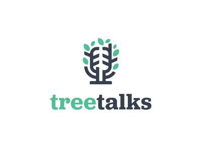 treetalks life mark visual identity branding logo clever smart creative podcast talks talk microphone mic green tree