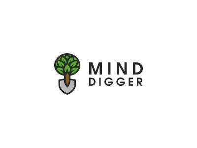 Mind Digger tree shovel logo leafs creatank bodea daniel
