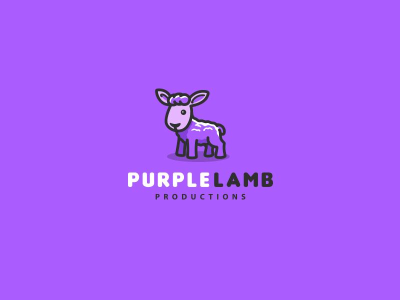 Purple Lamb  bodea daniel kreatank creatank cute identity logo mascot animal sheep goat lamb