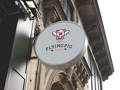 Flying Pig graphic designer bodea daniel creatank kreatank logo designer logo cafe coffee pork pig wings flying