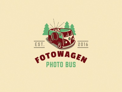 FotoWagen photo booth creative kreatank emblem logo retro vintage volkswagen bus car photo foto