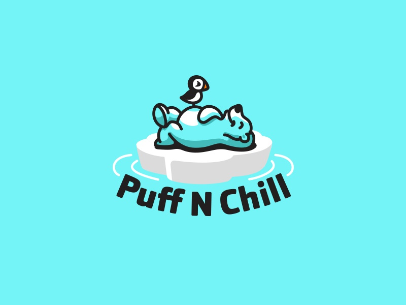 Puff N Chill Medical Marijuana creatank kreatank illustration brand identity logo design cannabis marijuana polar bear puffin