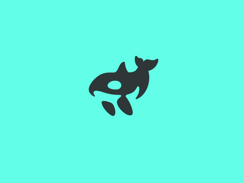 Orca kreatank creative designer vector mark negative space brand identity logo design ocean killer whale orca