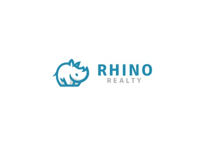 Rhino Realty kreatank brand identity rhinoceros simple cute character design logo real estate realty rhino