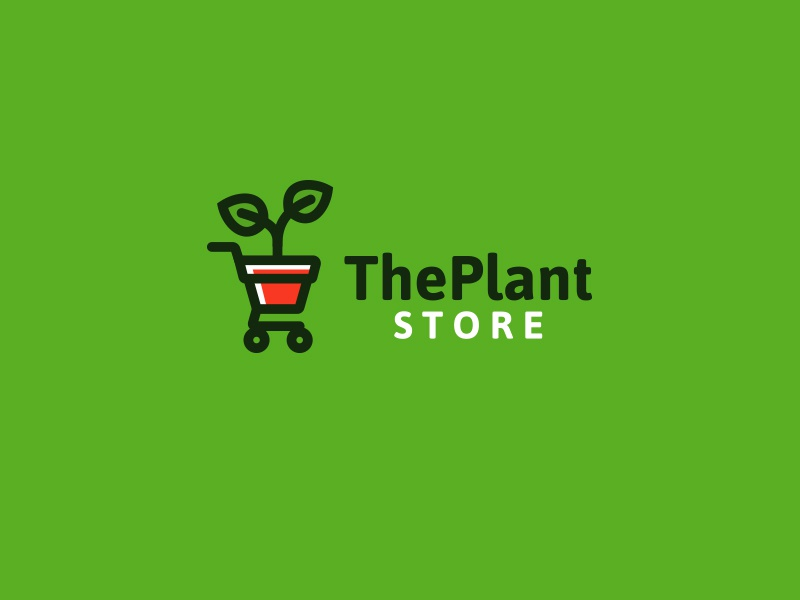 the plant store plant in a shopping cart logo with a green background