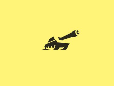 Negative-space tank illustration brand identity kreatank creative design logo gun army negative space tank