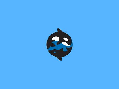 Orca Dolphin kreatank ocean creative illustration logo circle dolphin whale orca