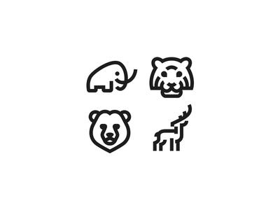 Animal Icon logos kreatank line stroke mammoth buck deer bear tiger logos logo icon icons