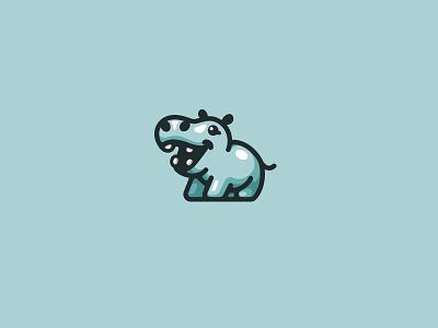 Happy Hippo kreatank character mascot sweet playful cute logo happy hippo