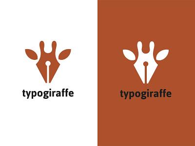 Typogiraffe kreatank writing ink pen creative logo giraffe typo typography