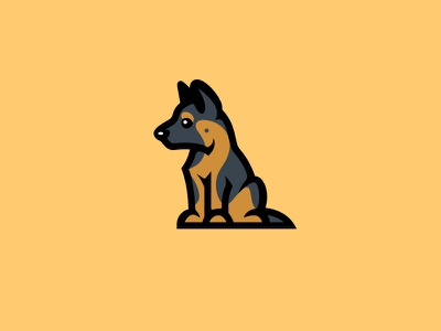 German Shepherd puppy kreatank creative playful cute puppy german shepherd illustration logo dog