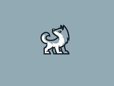Wolfy kreatank sweet playful character mascot logo dog wolf cute