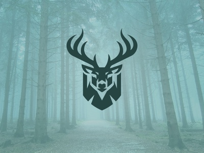 Deer Shield badge hunting kreatank creative logo buck shield deer