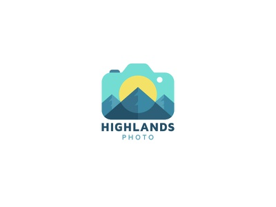 Highlands Photo creative foto flat photography photo camera mountain logo