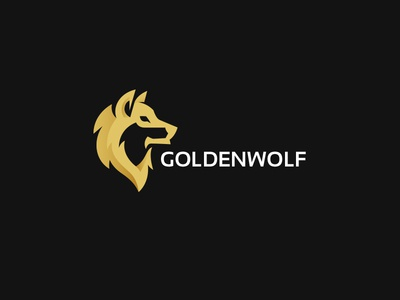 Golden wolf logo kreatank illustration creative howling dog gold logo wolf