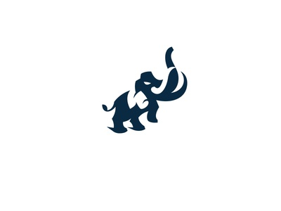 Angry Mammoth kreatank creative elephant illustration logo negative space ice age mammoth