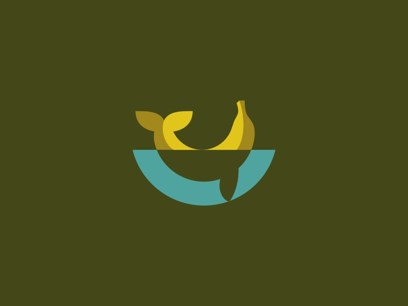 Whale or Banana kreatank flat creative negative space logo shipping fruit dolphin fish banana whale