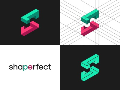 Shaperfect triangle corporate guide lines s abstract flat optical illusion 3d logo