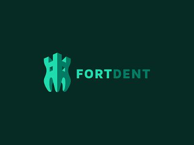 Fortdent dent teeth kreatank flat creative fort castle tooth dental dentist