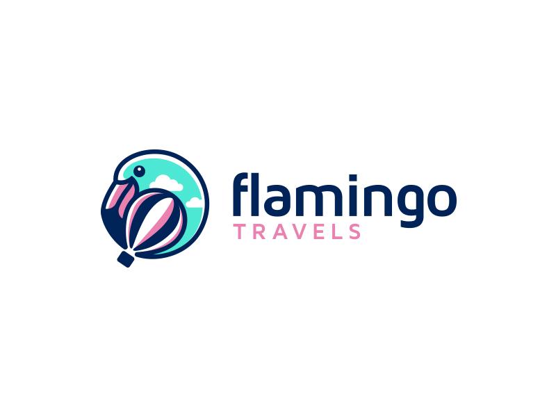 Flamingo Travels traveling clouds sky hot air balloon creative logo flamingo travel agency