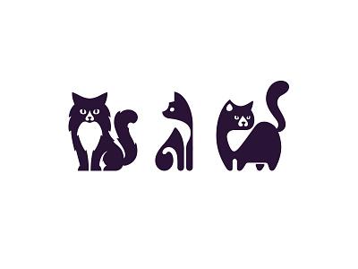 Cats fluffy icons cute kreatank illustration logo negative space pet cats cat