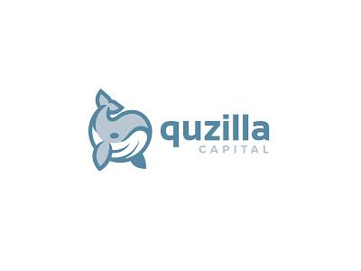 Quzilla Capital kreatank flat corporate simple cute mascot design logo humpback whale circle