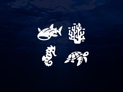 Ocean Icons logos sea turtle sea horse coral whale shark icon logo animals sea ocean