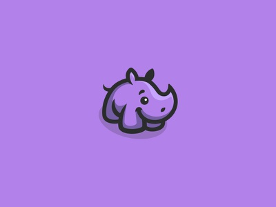 Cute Rhino baby kreatank purple creative playful sweet logo character mascot rhinoceros rhino cute