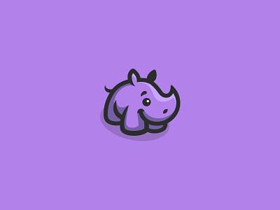 Cute Rhino baby kreatank purple creative playful sweet logo character mascot rhinoceros rhino cute