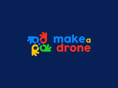 make a drone colored playful kreatank creative hand hands logo children kids toys toy drones drone