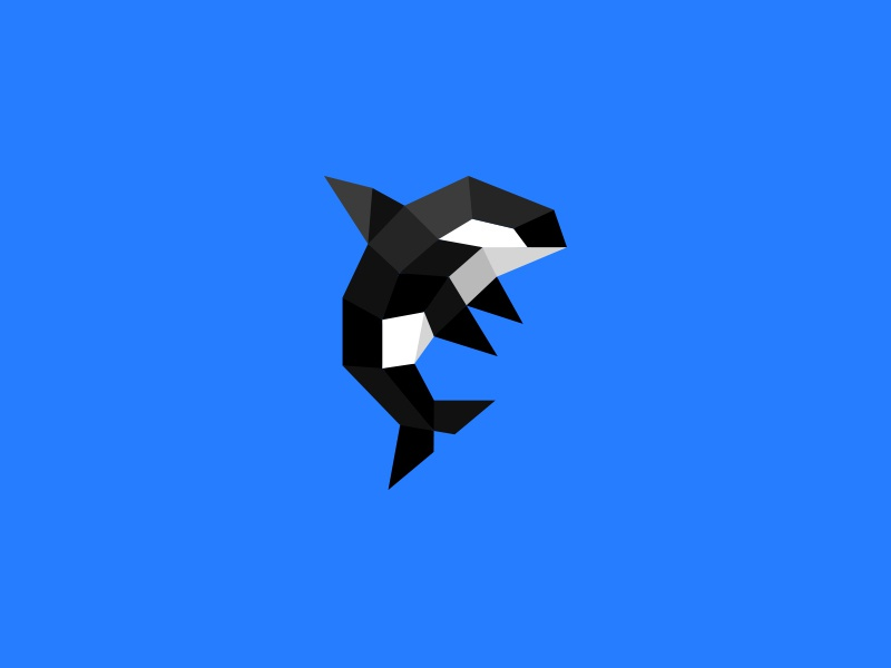 Orca kreatank brand identity logo design abstract geometric flat 3d polygon whale orca crypto currency