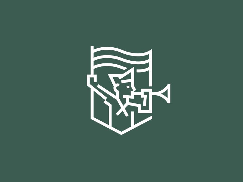 Brandhorn emblem illustration kreatank corporate logo badge shield flag horn agency brand idenity branding