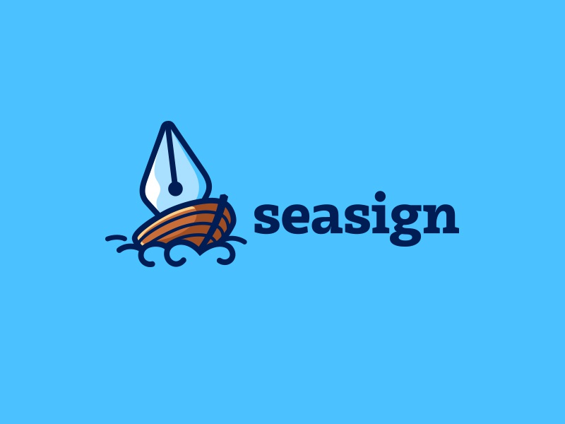 SeaSing kreatank creative logo ocean sea signature sign document pen ship boat