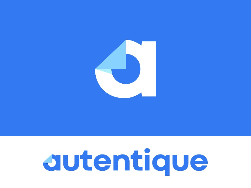 Autentique kreatank logo brand identity flat doc fold paper signing signature document a letter