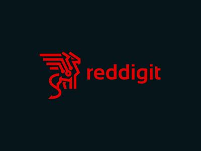 Reddigit proposal kreatank red brand identity logo abstract digit security tech robot dragon