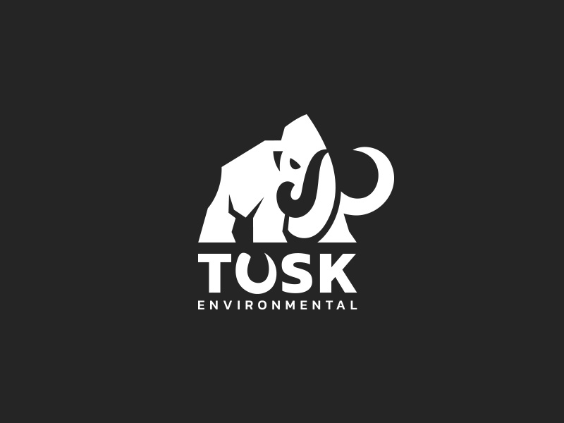 Tusk Environmental kreatank negative space elephant logo mamut mammoths tusk mammoth
